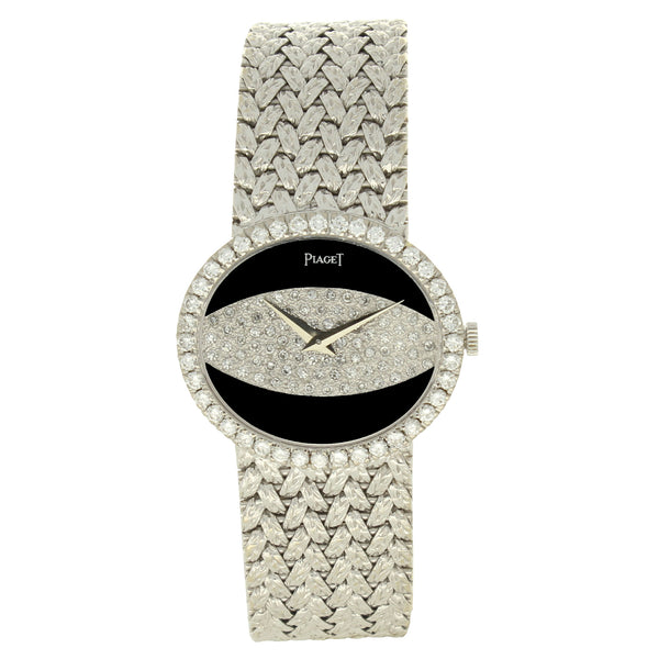 18ct white gold and diamond set bracelet watch with onyx dial by Piaget c. 1970