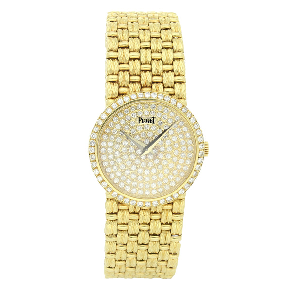 18ct yellow gold diamond dial bracelet watch by Piaget c. 1970