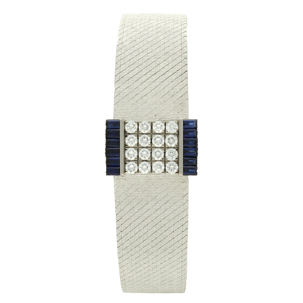 18ct white gold, diamond & sapphire set, reference 3319 bracelet watch. Made 1967