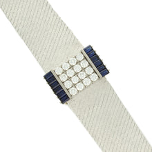 Load image into Gallery viewer, 18ct white gold, diamond & sapphire set, reference 3319 bracelet watch. Made 1967