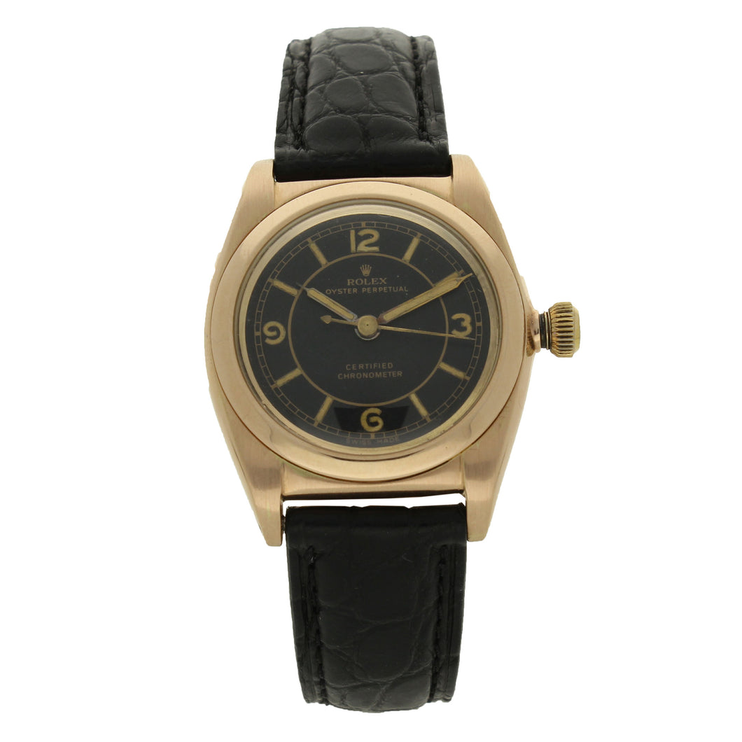 14ct rose gold, reference 3131 Oyster Perpetual Bubble Back wristwatch. Circa 1940