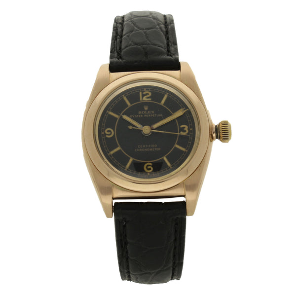 14ct rose gold bubble back wristwatch with black dial Ref: 3131 by Rolex c. 1940