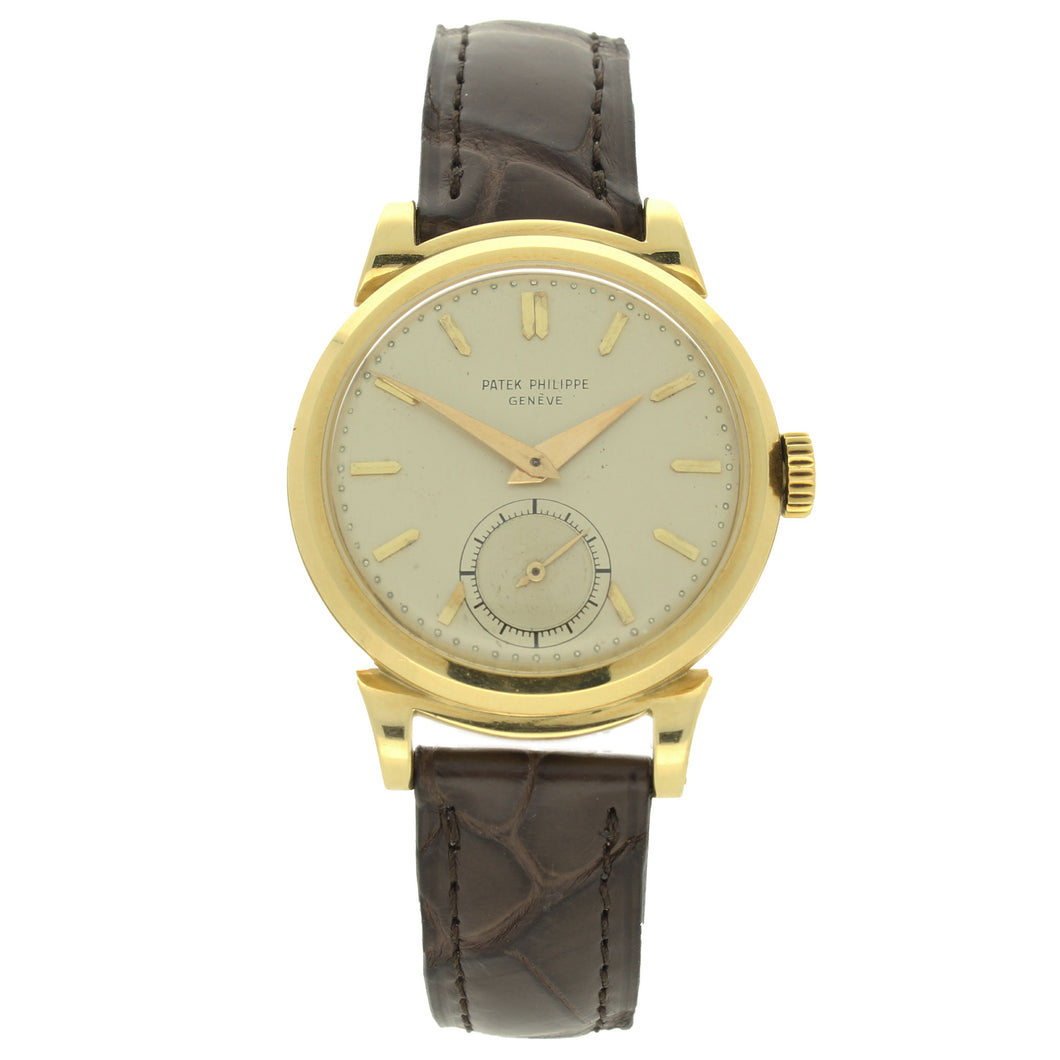 18ct yellow gold, reference 1491 wristwatch. Made 1953