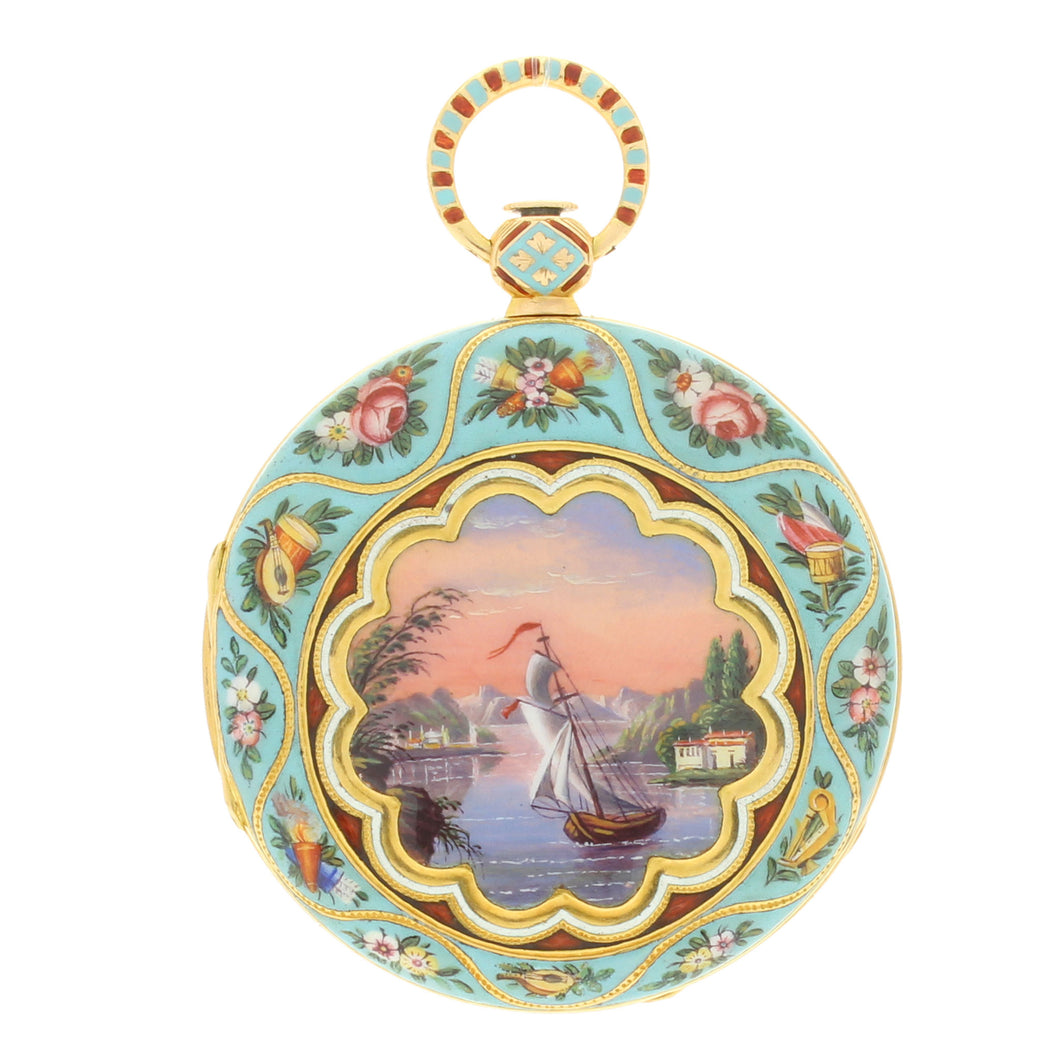 18ct Gold and enamel Swiss pocket watch c. 1840 Made for Turkish market