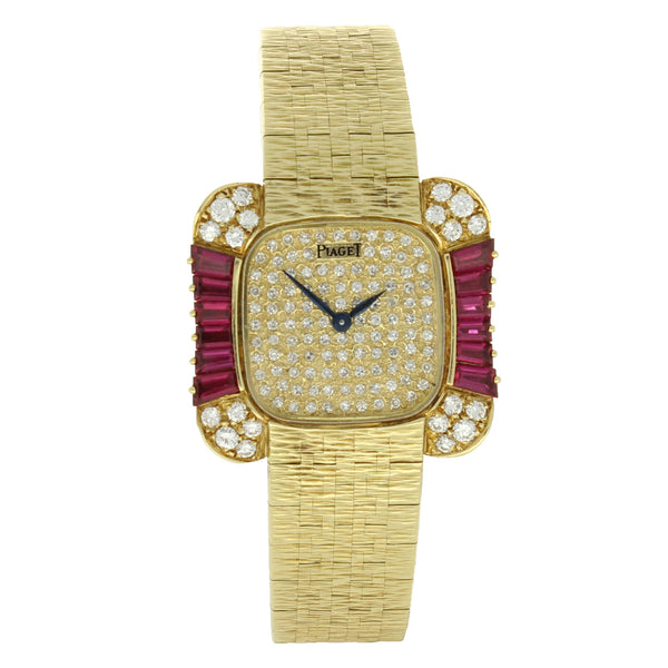 18ct yellow gold diamond and ruby set bracelet watch by Piaget c. 1970