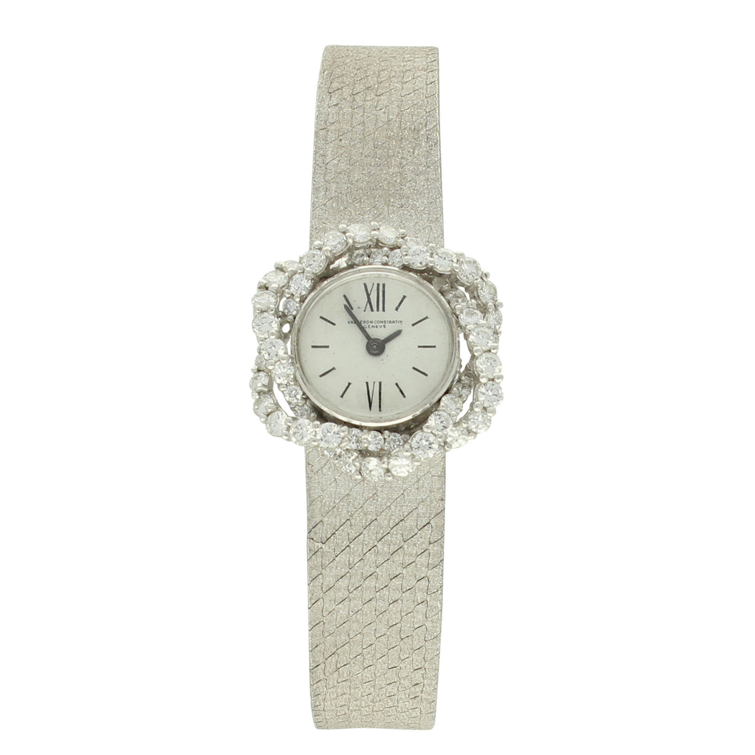 18ct white gold and diamond set bracelet watch. Circa 1975