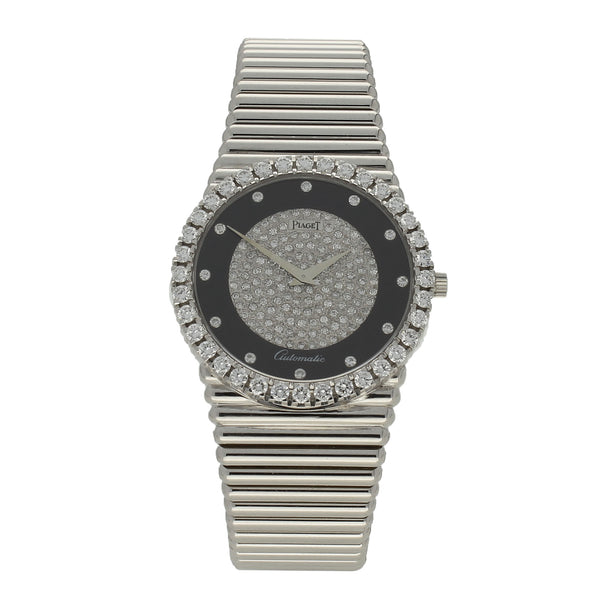 18ct white gold automatic bracelet watch with diamond and onyx dial by Piaget c. 1970