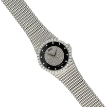 Load image into Gallery viewer, 18ct white gold 'round cased' bracelet watch with diamond and onyx set dial and diamond set bezel. Circa 1970