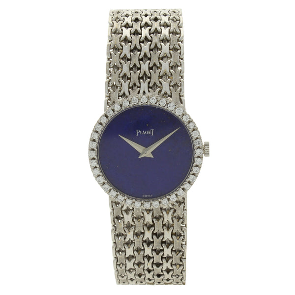 18ct white gold lapis lazuli and diamond set ladies bracelet watch by Piaget c. 1970