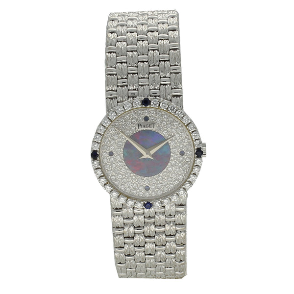 18ct white gold and diamond bracelet watch with opal dial by Piaget c. 1970