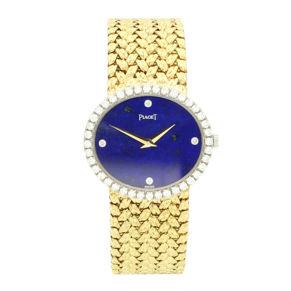 18ct yellow gold lapis dial bracelet watch with diamond bezel by Piaget c. 1970