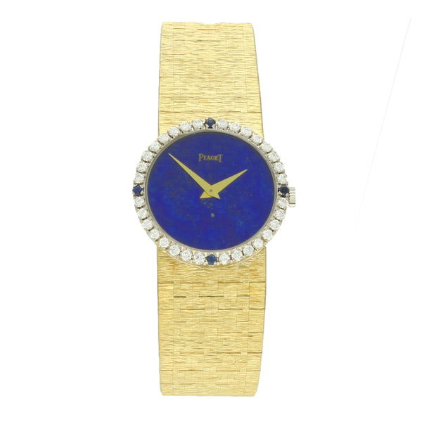 18ct yellow gold lapis dial ladies bracelet watch by Piaget with diamond and sapphire set bezelc. 1970