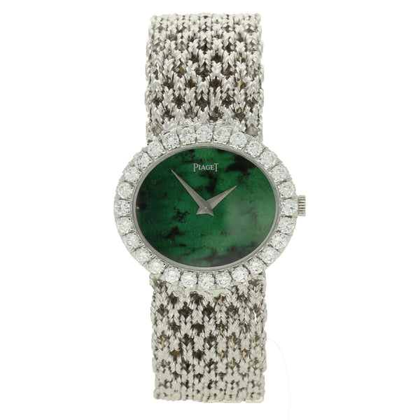 18ct white gold and diamond set bracelet watch with jade dial by Piaget c. 1970