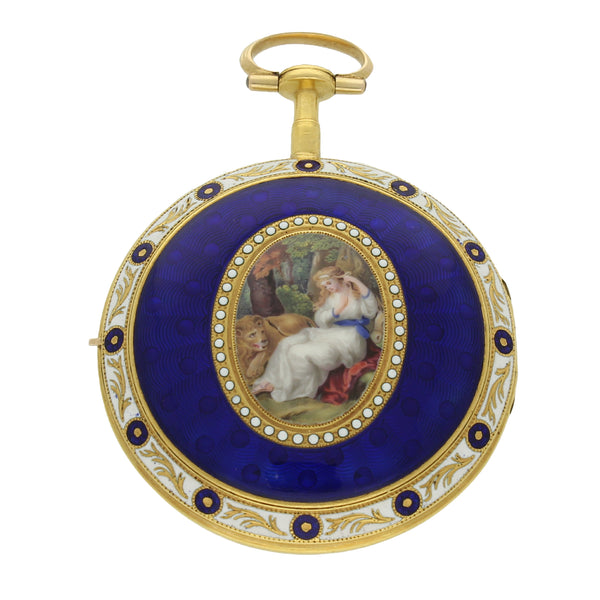 18ct gold and enamel pocket watch by Smart & Dennet, London c. 1780