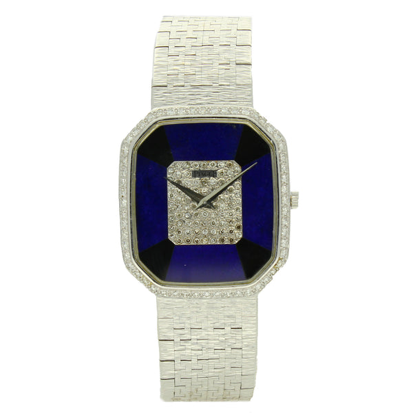 18ct white gold large octagonal onyx, lapis and diamond dial bracelet watch by Piaget c. 1970