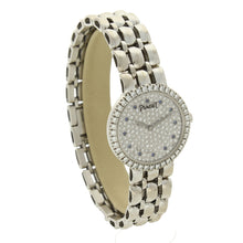 Load image into Gallery viewer, 18ct white gold 'round cased' bracelet watch with diamond set dial and bezel. Circa 1970
