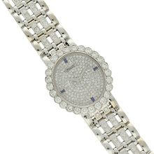 Load image into Gallery viewer, 18ct white gold 'oval cased' bracelet watch with diamond and sapphire set dial. Circa 1970