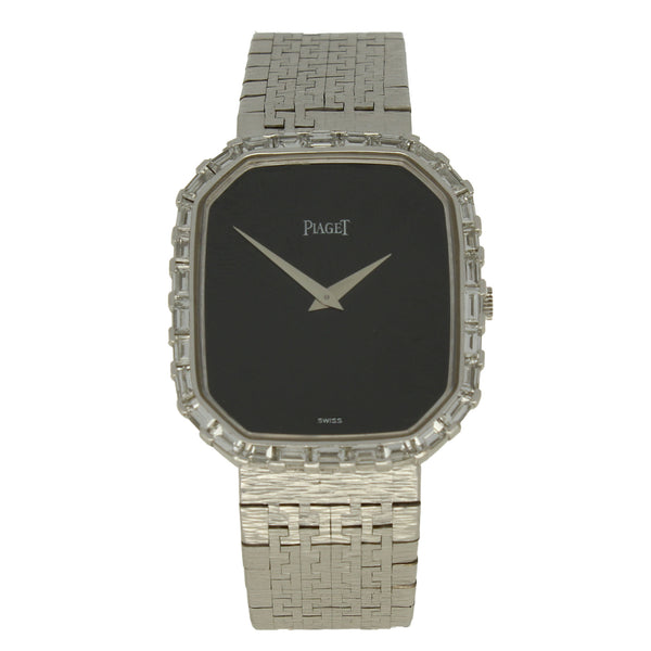 18ct white gold large octagonal onyx dial bracelet watch with baguette diamond bezel by Piaget c. 1970