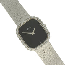 Load image into Gallery viewer, 18ct white gold 'octagonal cased' bracelet watch with onyx dial and diamond set bezel. Circa 1970