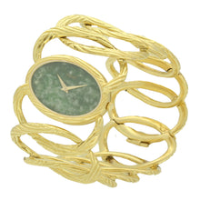 Load image into Gallery viewer, 18ct yellow gold cuff watch with nephrite jade dial. Circa 1970