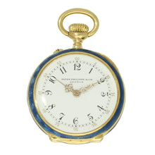 Load image into Gallery viewer, 18ct yellow gold, diamond and guilloché set enamel set fob watch. Made 1907