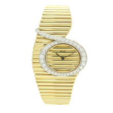 "Load image into Gallery viewer, 18ct yellow gold 'asymmetrical cased' and diamond set ""Emperador'' bracelet watch. Circa 1970"