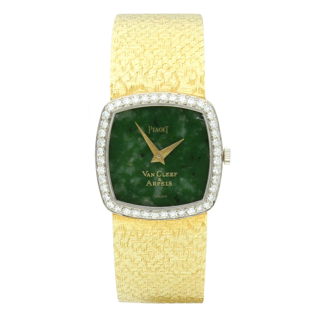18ct yellow gold and diamond set bracelet watch with jade dial, retailed by VAN CLEEF & ARPELS. Circa 1970