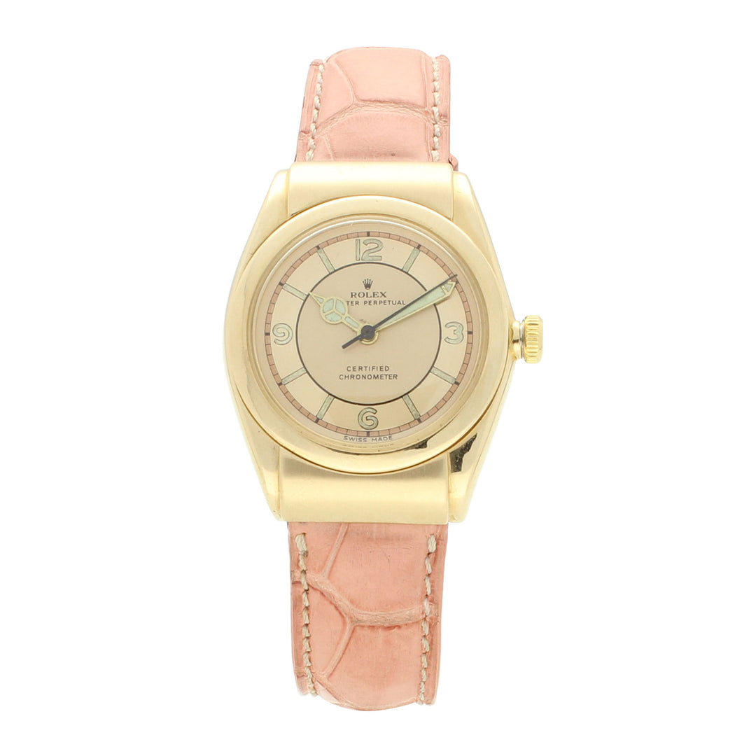 18ct yellow gold Oyster Perpetual, Bubbleback chronometer, reference 3065 wristwatch. Circa 1940
