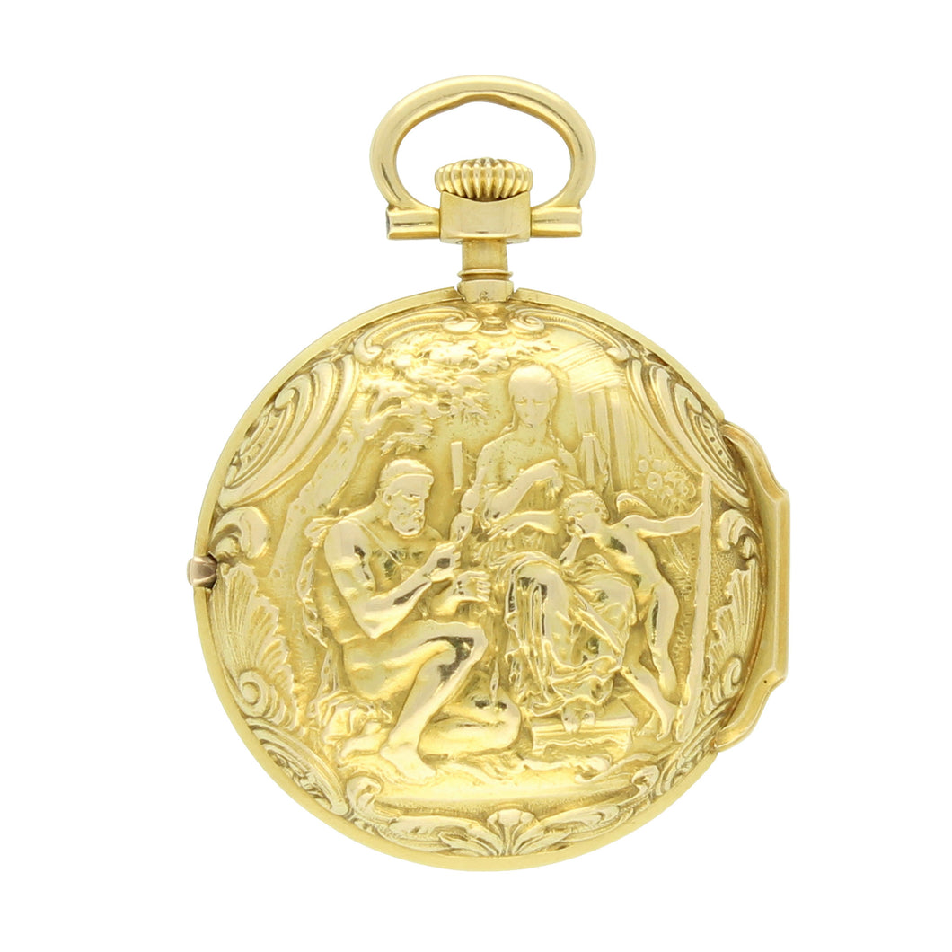 18ct yellow gold repoussé, enamel and diamond set pair cased fob watch. Made 1897.