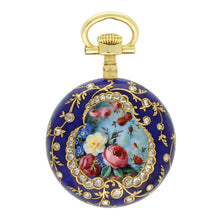 Load image into Gallery viewer, 18ct yellow gold repoussé, enamel and diamond set pair cased fob watch. Made 1897.