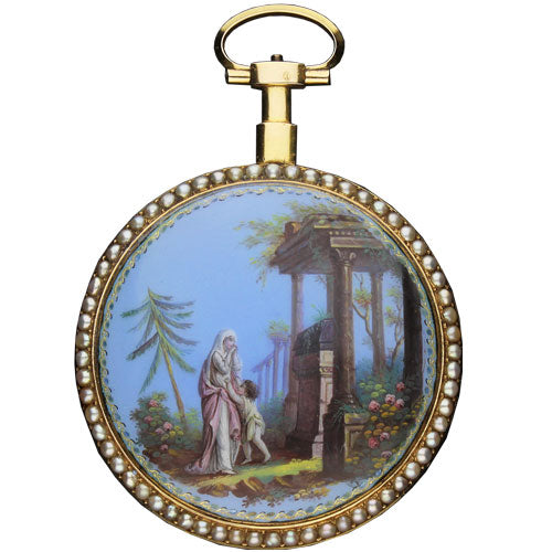 18ct yellow gold, enamel and pearl set calendar watch with verge movement signed Gregson á Paris c. 1780