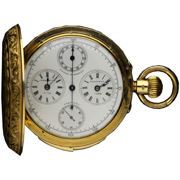 18ct yellow gold hunter cased dual time, minute repeating, chronograph pocket watch, signed Cooke & Kelvey c. 1885