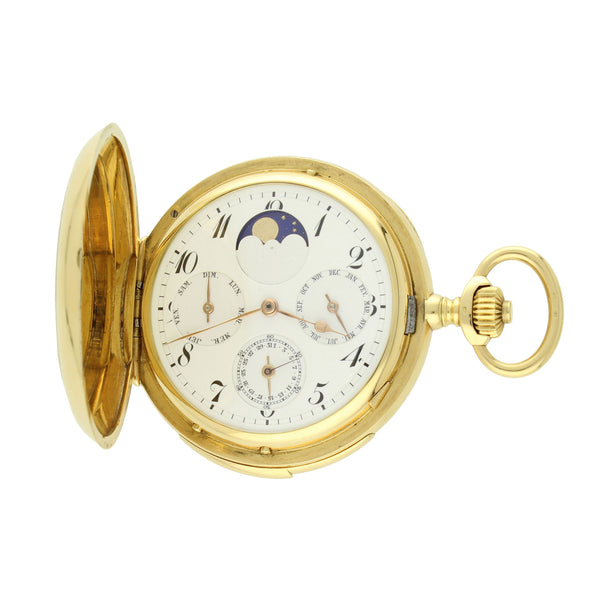 18ct yellow gold hunter case triple-date moon phase minute repeating pocket watch by Vacheron and Constantin c. 1916