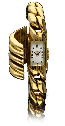 18ct yellow gold bracelet watch with a curved hidden dial by Fred, Paris c. 1940