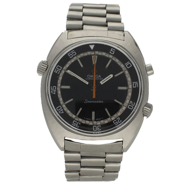 Stainless steel Seamaster Chronostop with black dial on a stainless steel bracelet by OMEGA c. 1969