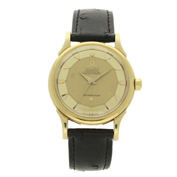 1957 18ct yellow gold Constellation 'De Luxe' automatic chronometer wristwatch with pie-pan dial by OMEGA
