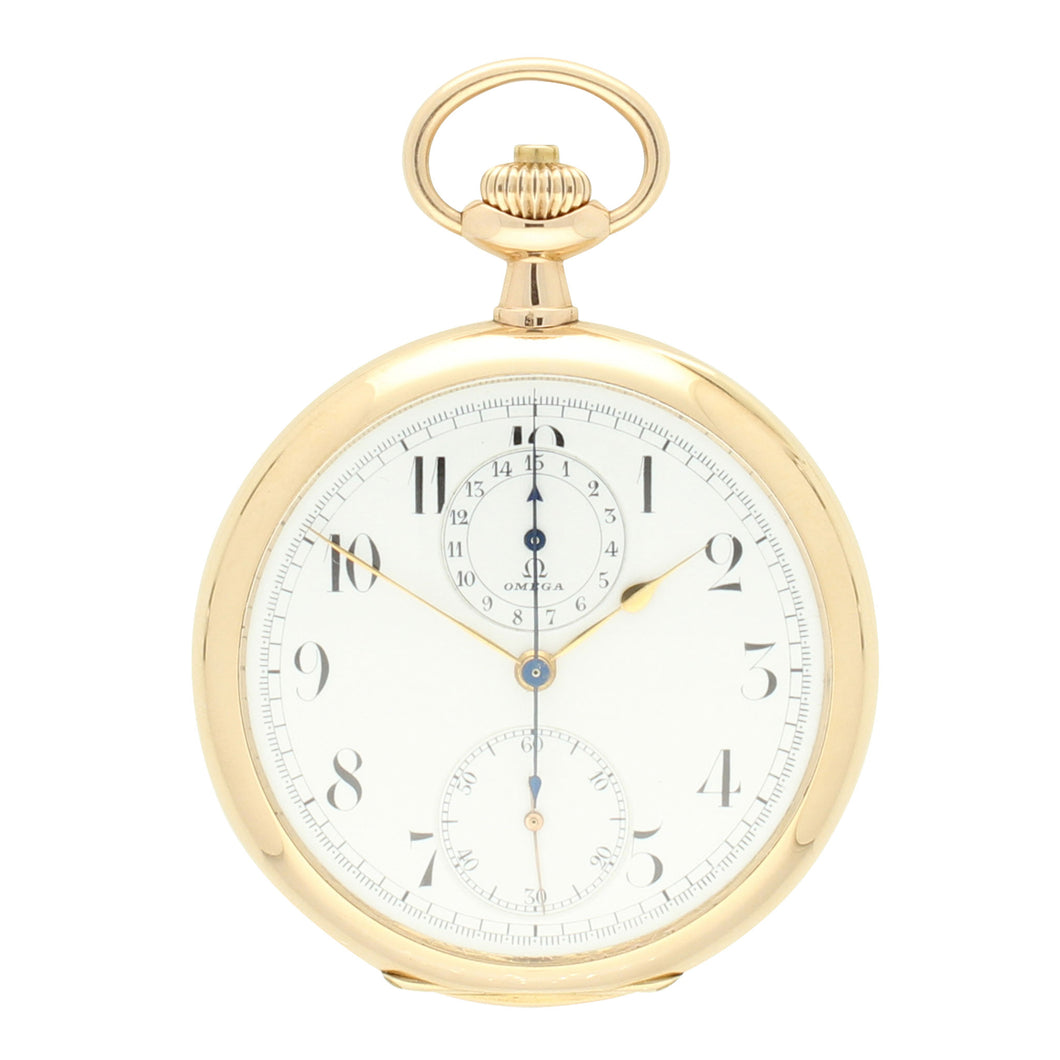 14ct yellow gold single button chronograph pocket watch. Made 1912