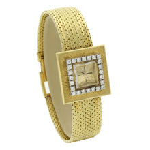 Load image into Gallery viewer, 18ct yellow gold and diamond set square case bracelet watch. Made 1961