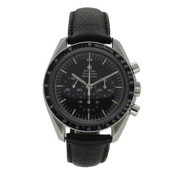 Stainless steel Speedmaster wristwatch with straight case writing by OMEGA c. 1971