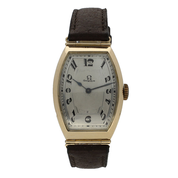 1915 14ct yellow gold Petrograd wristwatch in tonneau case by OMEGA