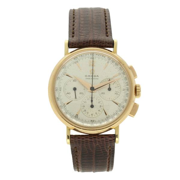 1947 18ct rose gold chronograph wristwatch by OMEGA