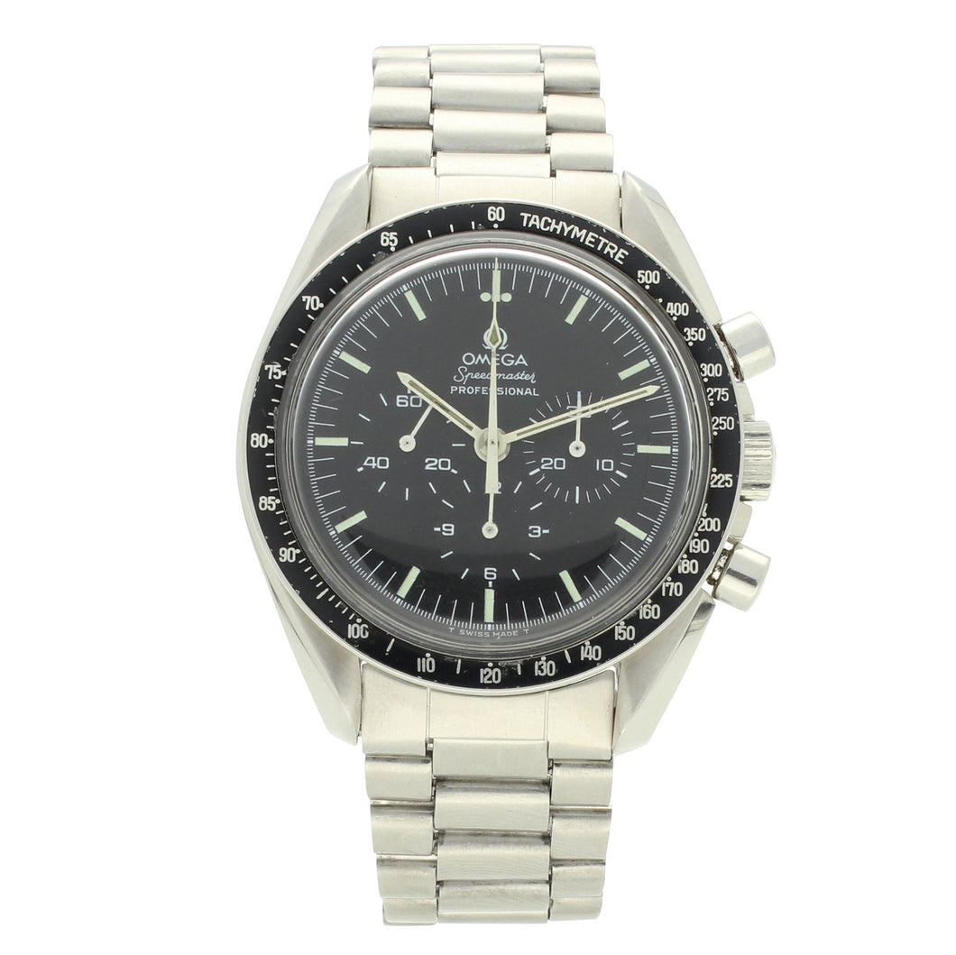 Stainless steel Speedmaster 'Straight case writing' Professional chronograph wristwatch. Made 1971