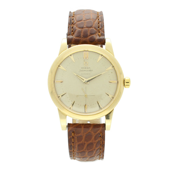 1953 14ct yellow gold  Seamaster automatic wristwatch with honeycomb dial by OMEGA
