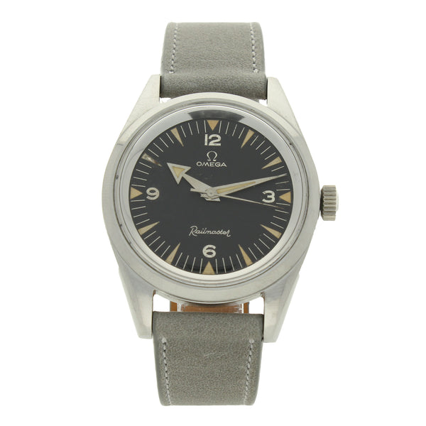 1958 Stainless steel Railmaster wristwatch with broad arrow hands by OMEGA