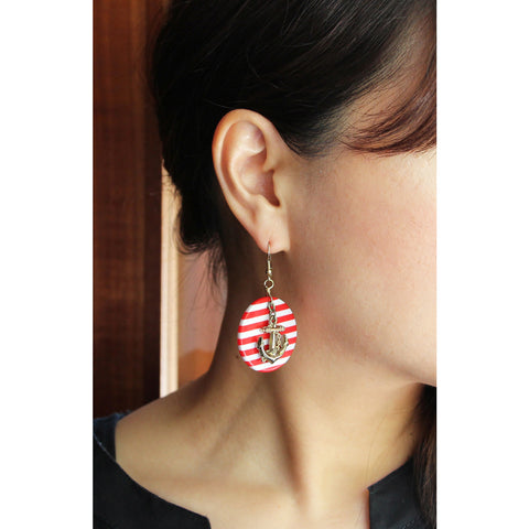 1980s Vintage Stripe & Anchor Pierce (Red & White)