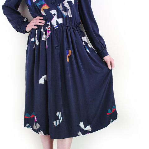 "Vintage ""CHANEL"" Silk Midi Dress (navy)"