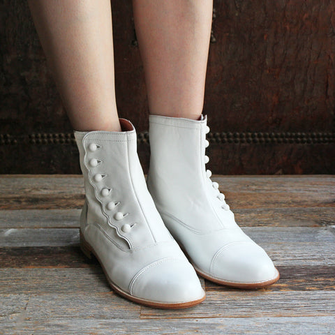 F-TROUPE - Leather Button Boots (White)