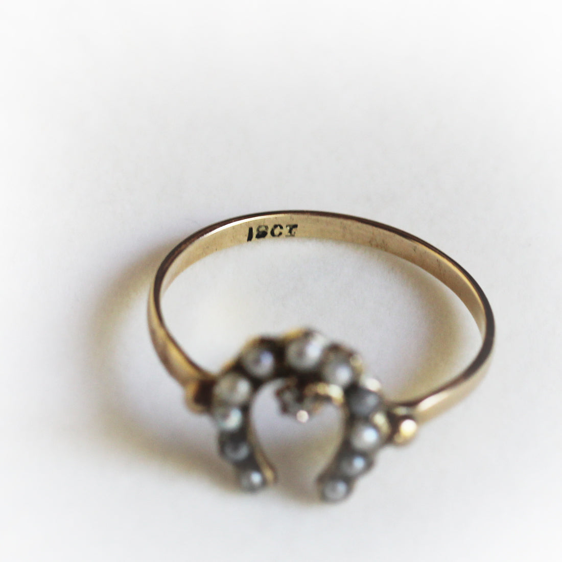 Victorian Pearl & Diamond Horse Shoe Ring (18CT)