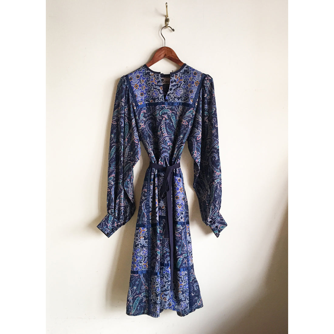 "1970s Liberty print Dress ""ORIGIN""(blue)"
