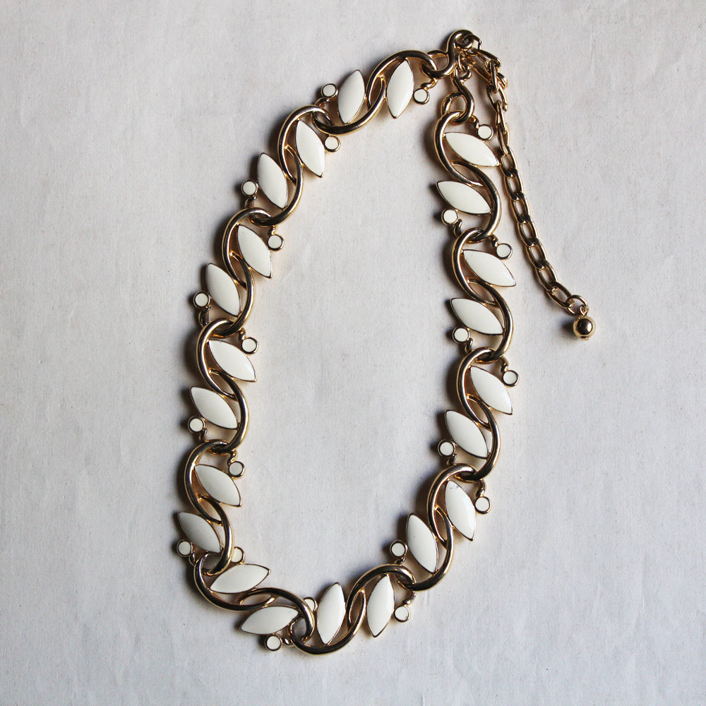 "C1990s ""TRIFARI""  Ivory Enamel Design Necklace"